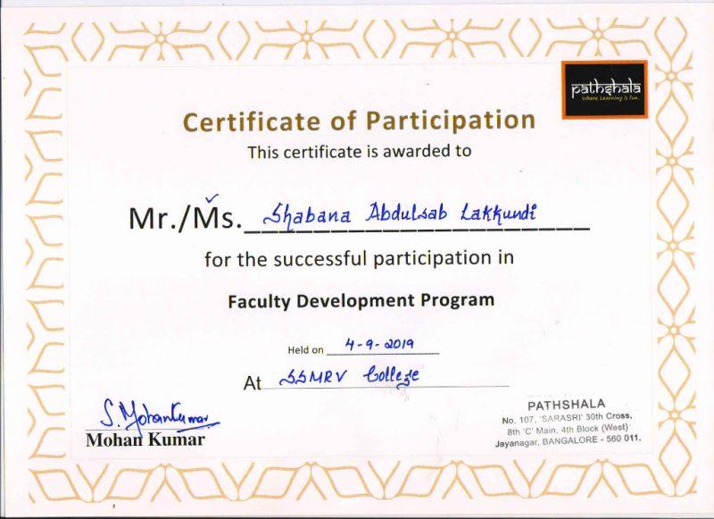 Ms.ShabanaAbdulsab Lakkundi-fdp