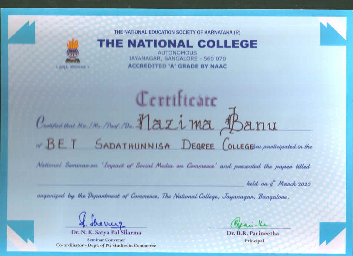 nazima Banu-NAtional college