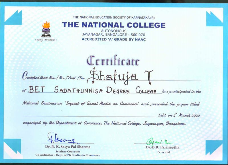 shafiya Taj-National College