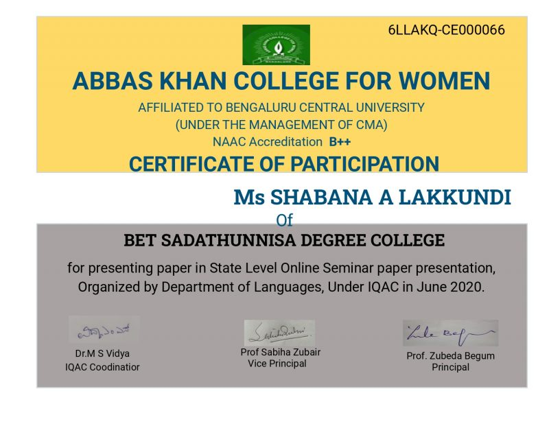 Certificate for Ms SHABANA A LAKKUNDI for _Feedback Form_State Level O...__page-0001