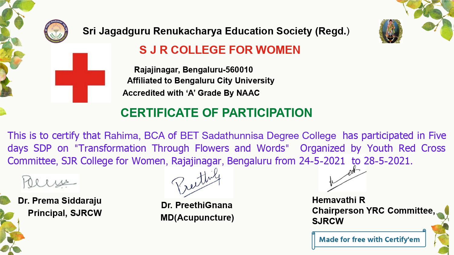Certificate for Rahima for ___page-0001