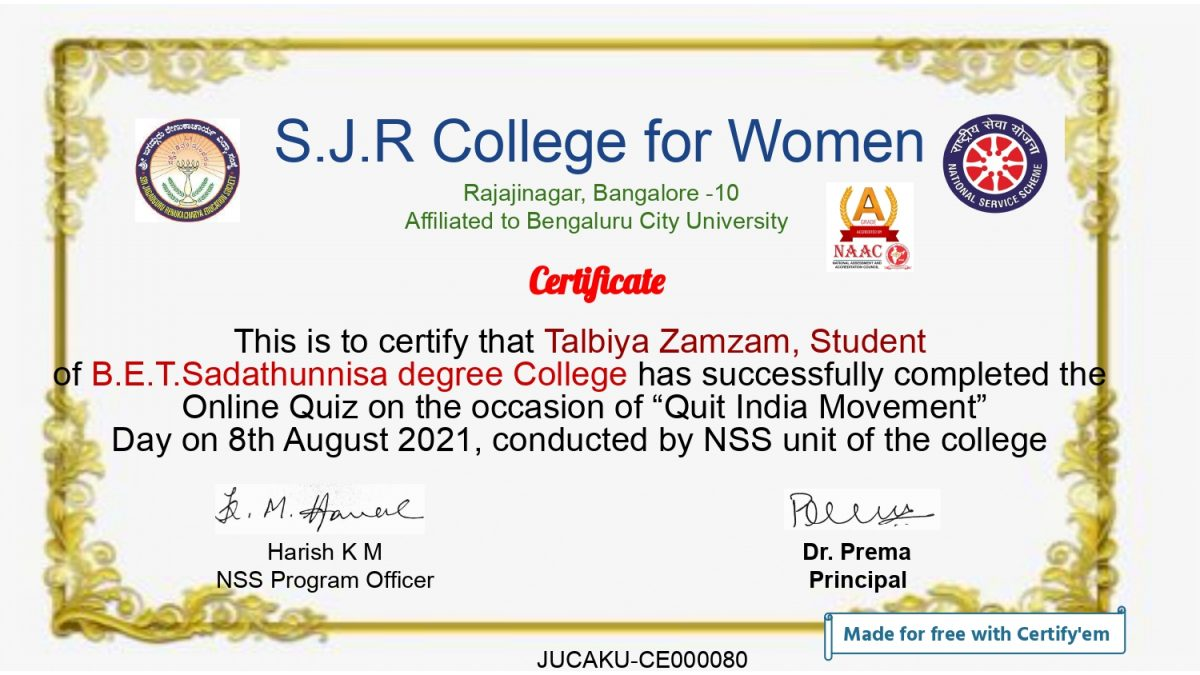 1631805587388_Certificate for Talbiya Zamzam for _S J R College for Women ...__page-0001