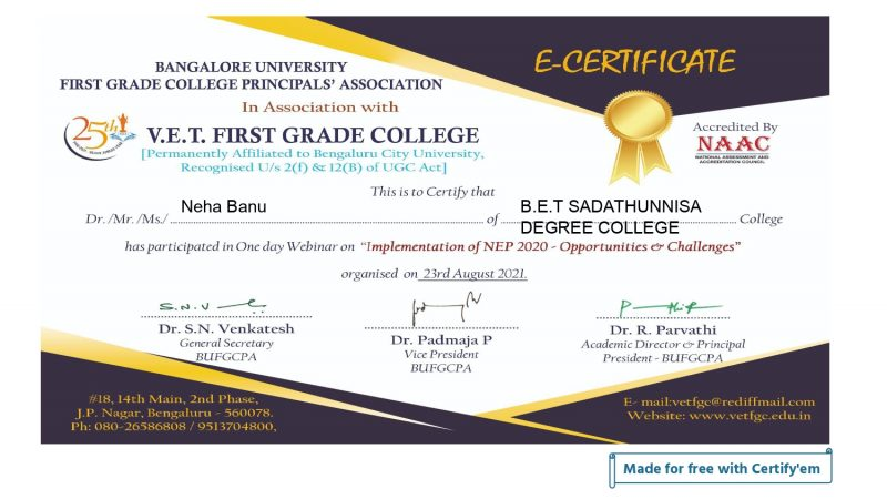 Certificate for Neha Banu for _FEEDBACK - BANGALORE UNIVER...__page-0001