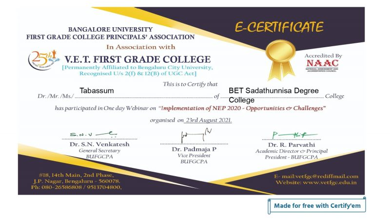Certificate for Tabassum for _FEEDBACK - BANGALORE UNIVER...__page-0001